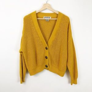 VTG Mustard Cardigan Button Down Sweater, Large